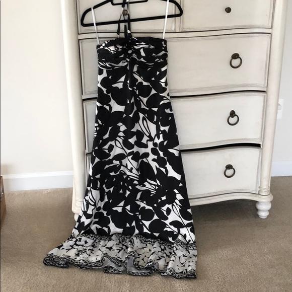 White House Black Market Dresses & Skirts - Long silk halter tie dress